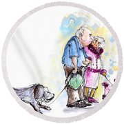 People And Their Dogs 02 Round Beach Towel