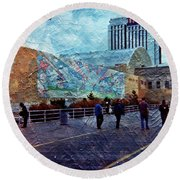 People As A Painting Round Beach Towel