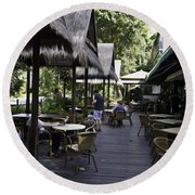 People At The Breakfast Table In A Hotel In Sentosa In Singapore Round Beach Towel