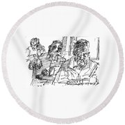 People At The Cafe Round Beach Towel