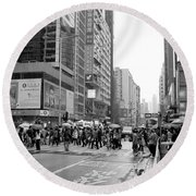 People Crossing The Street On A Rainy Day In Mong Kok Hong Kong Round Beach Towel