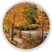 People Fishing In The Rio Grande River Round Beach Towel