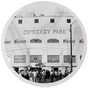 People Outside A Baseball Park, Old Round Beach Towel