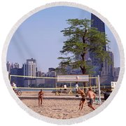 People Playing Beach Volleyball Round Beach Towel