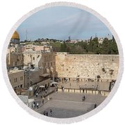 People Praying At At Western Wall Round Beach Towel