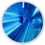 People Rush In Subway. Round Beach Towel