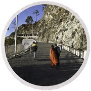 People Walking On The Path Leading To Shrine Of Vaishno Devi Round Beach Towel