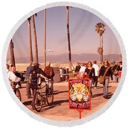 People Walking On The Sidewalk, Venice Round Beach Towel