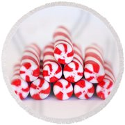 Peppermint Twist - Candy Canes Round Beach Towel