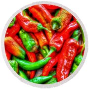 Peppers Round Beach Towel