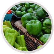 Peppers From The Farm Nj Round Beach Towel
