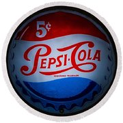 Pepsi Cap Sign Round Beach Towel