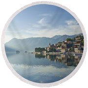 Perast Village In The Bay Of Kotor In Montenegro  Round Beach Towel
