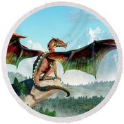 Perched Dragon Round Beach Towel