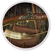 Percussion Cap And Ball Rifle With Powder Horn And Possibles Bag Round Beach Towel