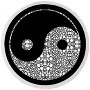 Perfect Balance 2 - Yin And Yang Stone Rock'd Art By Sharon Cummings Round Beach Towel