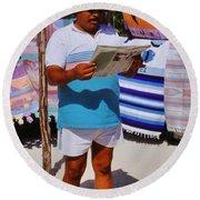 Perfect Posture Portrait Round Beach Towel