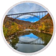 Perfect Reflections Of The New River Gorge Bridge Round Beach Towel