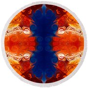 Perfectly Balanced Philosophies Abstract Pattern Art By Omaste Witkowski Round Beach Towel