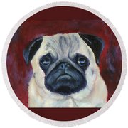 Perfectly Pug Round Beach Towel