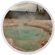 Perforated Pool In West Thumb Geyser Basin Round Beach Towel