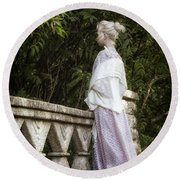 Period Lady On Bridge Round Beach Towel