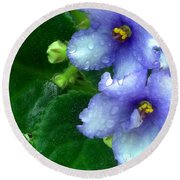Periwinkle African Violets Round Beach Towel