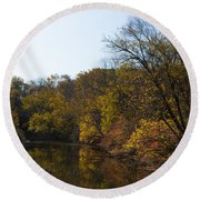 Perkiomen Creek In Autumn Round Beach Towel