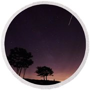 Perseids Meteor Over Sasco Hill Round Beach Towel