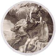 Perseus Cuts Off Medusa's Head Round Beach Towel by Bernard Picart