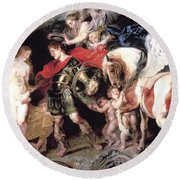 Perseus Liberating Andromeda Round Beach Towel