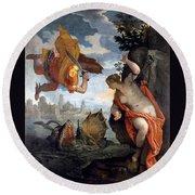 Perseus Rescuing Andromeda Round Beach Towel