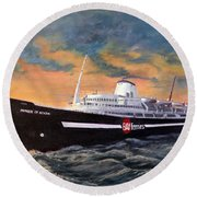 Perseverance On The Bay Round Beach Towel