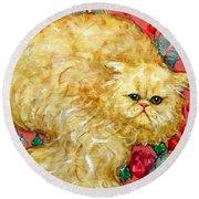 Persian Cat On A Cushion Round Beach Towel
