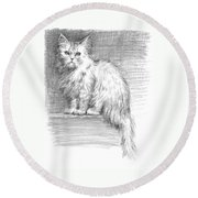 Persian Cat Round Beach Towel