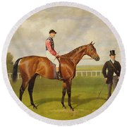 Persimmon Winner Of The 1896 Derby Round Beach Towel by Emil Adam