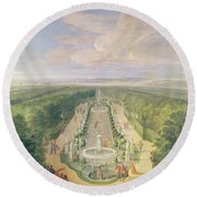 Perspective View Of The Grove From The Galerie Des Antiques At Versailles, 1688 Oil On Canvas Round Beach Towel