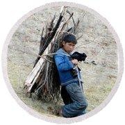 Peruvian Boy Gathers Wood Round Beach Towel