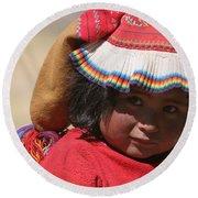 Peruvian Child Round Beach Towel