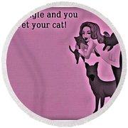 Pet Your Cat Round Beach Towel