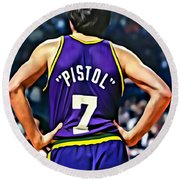 Pete Maravich Round Beach Towel