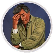 Peter Falk As Columbo Round Beach Towel by Paul Meijering