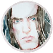 Peter Steele Watercolor Portrait Round Beach Towel