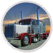 Peterbilt At The Beach  Round Beach Towel