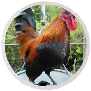 Petey The Old English Game Bantam Rooster Round Beach Towel