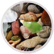 Petoskey Stones L Round Beach Towel by Michelle Calkins