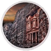 Petra The Treasury Round Beach Towel by Dan Yeger