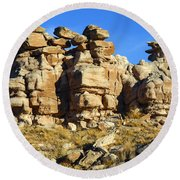 Petrified Forest Rock Formations Round Beach Towel