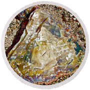 Petrified Wood In Crystal Forest In  Petrified Forest National Park-arizona Round Beach Towel
