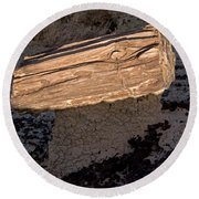 Petrified Wood On A Pedestal Round Beach Towel